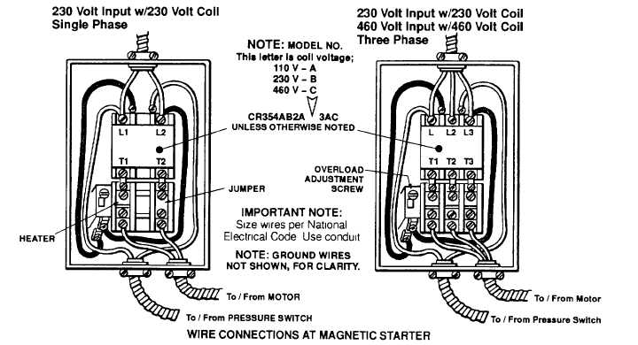 installing the magnetic starter Magnetic Starter Wiring Diagram air compressor 230v 1 phase wiring diagram